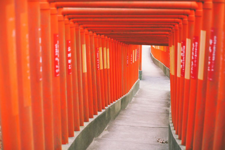 Corridor of red building