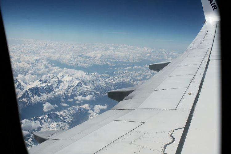 Airplane Aerial View Aircraft Wing Flying Transportation Travel Window Air Vehicle Journey Mode Of Transport Mid-air Looking Through Window Vehicle Part Sky Snow French Alps The Week On Eyem Let's Go. Together.