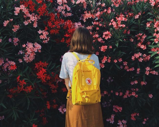 Rear view of girl standing against multi colored flowers
