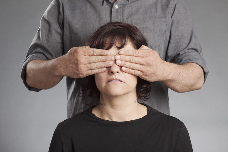 Blindfolded Negative Not Senses Blinded Casual Clothing Close-up Closed Eyes Hand Human Hand Impairment Mood People Portrait Real People Shut Studio Shot Two People