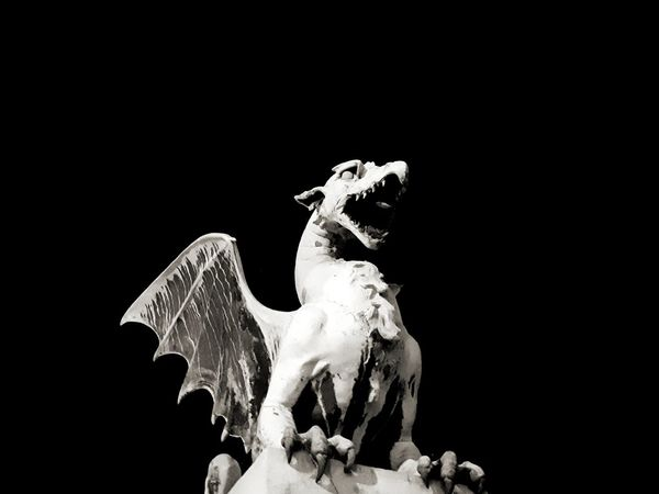 Nightphotography Symbol Blackandwhite Black And White Dragon Drake  Black Background Close-up Representing Statue Sculpture Sculpted The Traveler - 2018 EyeEm Awards The Architect - 2018 EyeEm Awards HUAWEI Photo Award: After Dark