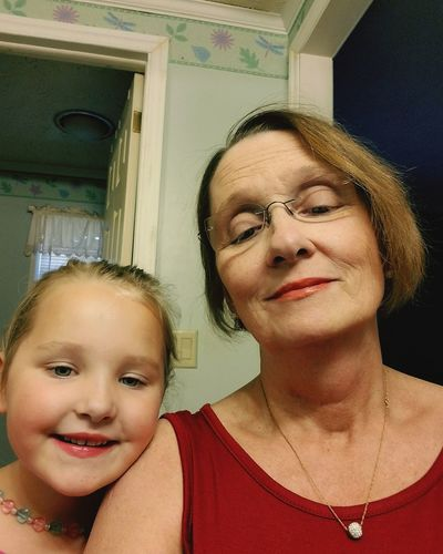 Me & my youngest granddaughter, Maddie Kate, having a little girl time... Child Indoors  Headshot Girls Togetherness Front View Looking At Camera Family People Love Portrait Domestic Life Childhood Adult Childs Play Bonding Close-up Grandmother Granddaughter Playing Makeup Time Lipstick Perfume Girly Things 