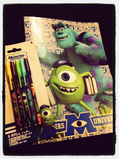 My pens and notebook for college Monsters University Monsters INC Collegelife University