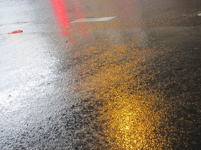Street after rainfall Asphalt Direction Mystery Puddle Rain Reflection Road Shadow Street Textured  Water Wet