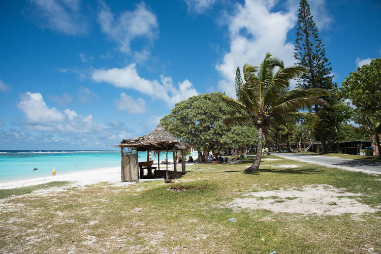 YEJELE BEACH,MARE,NEW CALEDONIA-DECEMBER 3,2016: Tourists, rustic shelters, stunning Pacific Ocean waters and lush flora at Yejele Beach in New Caledonia. Excursion Palm Tree Rustic Vacations Beach Beauty In Nature Exploration Grass Hut Nature Outdoors Pacific Ocean Paradise People Roadway Sea Shelter Sky Thatched Roof Tourism Travel Destinations Tree Tropical Water Waterfront Yejele