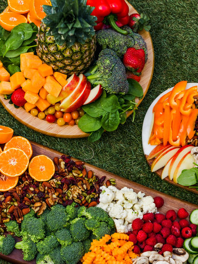 High angle view of chopped fruits and vegetables