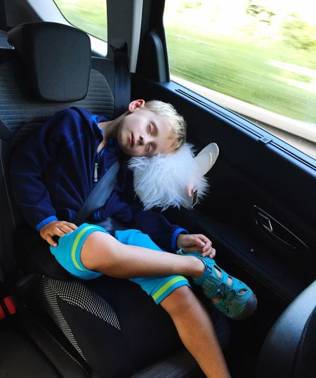 Let's Go. Together. Sleeping Car Travelling Journey Child Tired