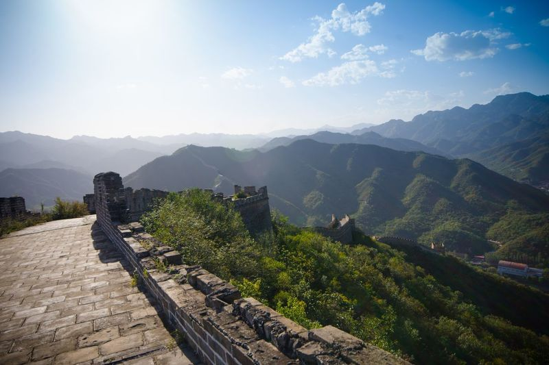 Great wall of china overlooking mountains