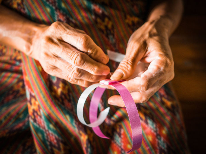 Art work Adult Art And Craft Close-up Craft Creativity Focus On Foreground Hand Holding Human Body Part Human Hand Indoors  Midsection Multi Colored One Person Senior Adult Skill  Textile Women Wool