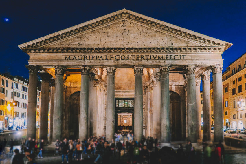 Pantheon Architectural Column Architecture Building Exterior Built Structure City History Illuminated Large Group Of People Lifestyles Night Outdoors People Real People Sculpture Sky Statue Tourism Travel Travel Destinations
