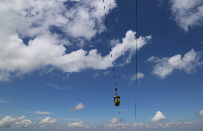 Impression Blue Sky Cloud - Sky Sky Day Cable Car Nature Low Angle View Beauty In Nature Transportation No People Tranquil Scene Tranquility Yellow Blue Scenics - Nature Cable Travel Mode Of Transportation Outdoors Germany Bavarian Landscape Hanging Hochgratbahn Hochgrat Oberstaufen Home