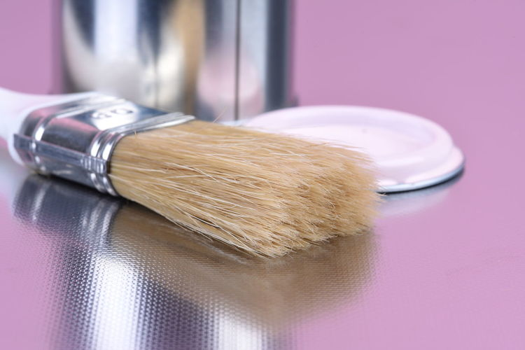 Paint can with brush home decorating tool Paint Can Paintbrush Colorful Tools Work Design Repair Decoration Container Renovation Shiny Acrylic Painting Metallic Latex Oil Housework Pink Color Violet Close-up