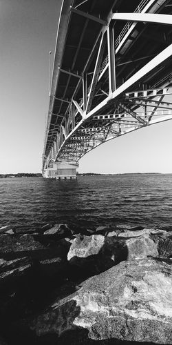 Architecture Beach Rocks Rocks And Water Bridge Black & White