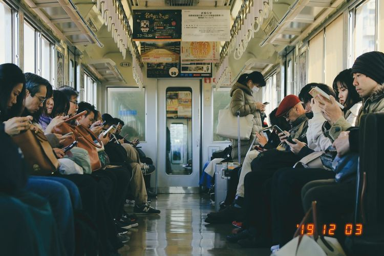 People sitting in train