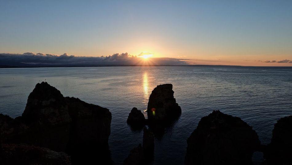 6:30 AM EyeEm Nature Lover EyeEmNewHere Algarve Sunrise Scenics Beauty In Nature Nature Sea Tranquility Silhouette Horizon Over Water Outdoors Sun Idyllic Sky Water