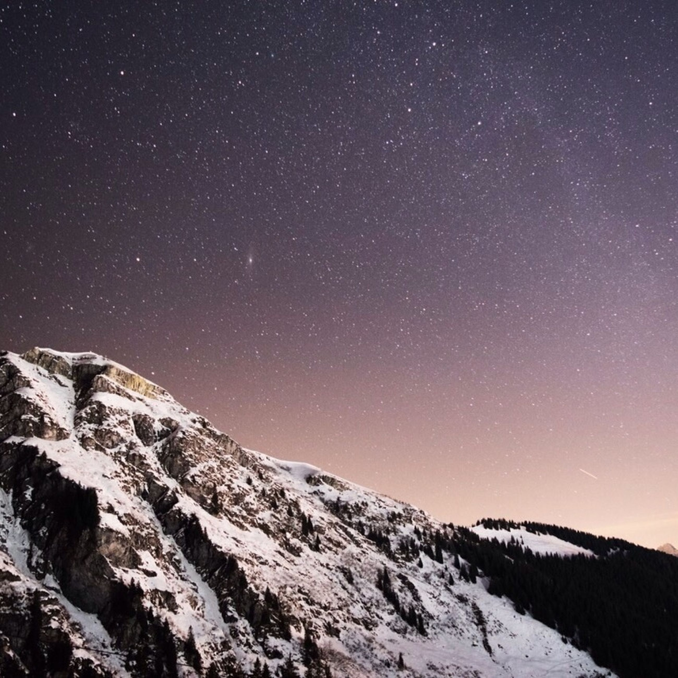 snow, winter, cold temperature, tranquil scene, tranquility, scenics, beauty in nature, night, season, nature, landscape, mountain, star - space, weather, star field, clear sky, sky, idyllic, covering, low angle view