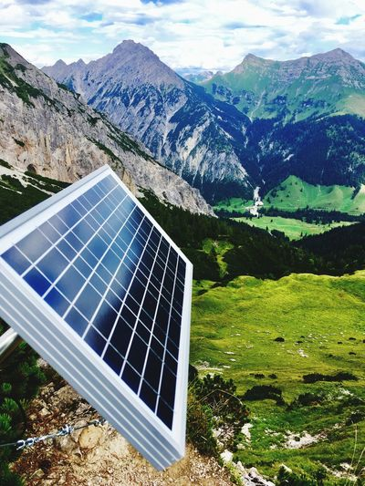 High angle view of solar panel against mountain range