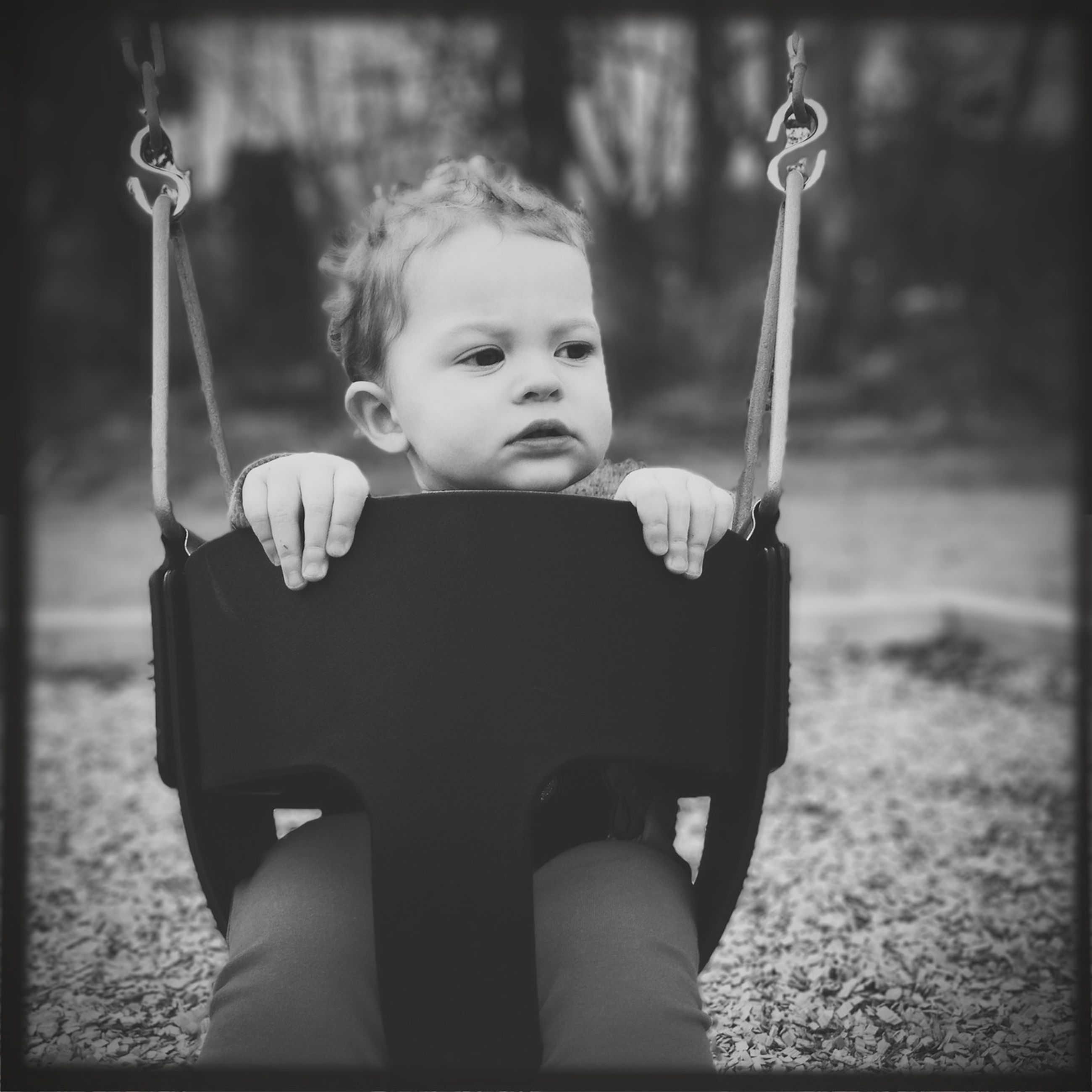 childhood, elementary age, person, lifestyles, leisure activity, girls, boys, casual clothing, innocence, playground, cute, holding, playing, happiness, swing, front view, focus on foreground, fun