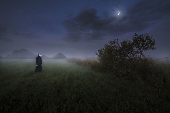 Fine Art Photography Finland Moon PlagueDoctorMask Beauty In Nature Field Fog Full Length Grass Landscape Men Nature Night One Person Outdoors People Plague Doctor Real People Sky Stars Tree