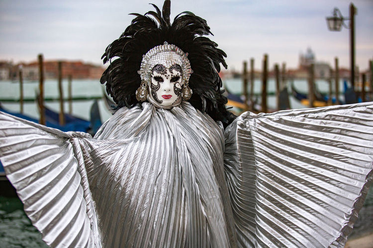 Portrait of person wearing costume during carnival