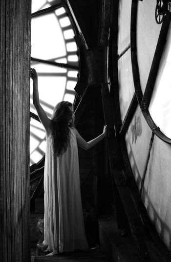No Such Thing As Time Woman Portrait Clock Tower Clock Abandoned Urbex Gown Dreamy Fantasy Bnw Bnw_collection Black And White Peter Pan Fairy Tale Standing