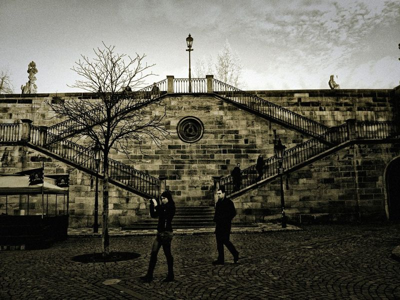 Steps Prague Praha Charles Bridge Street Photography Black And White Jixipix Photographers