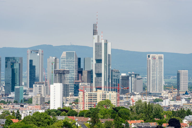 A part of the Frankfurt Skyline Frankfurt Frankfurt City  Frankfurt Am Main Skyline Frankfurt Skyscrapers Architecture Building Exterior Built Structure City Cityscape Clear Sky Day Downtown District Frankfurtammain Growth Modern No People Outdoors Sky Skyscapes Skyscraper Tower Travel Destinations Tree Urban Skyline