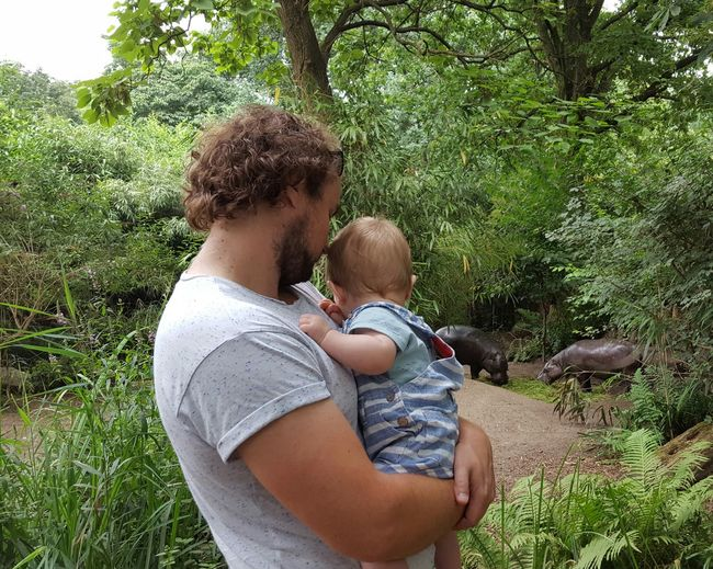 Zoo Fatherhood Moments Dad And Son Baby Toddler  Watching Animals Rinos Zoo Nature Photography Silhouettes Holding A Baby Peaceful Moment EyeEm Best Shots Green Outdoors Togetherness Grass Family With One Child Side View Young Adult Casual Clothing Family Tree Non-urban Scene Wild Animals Growing Up Stories From The City