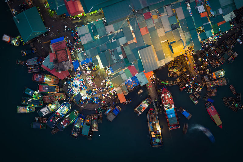 Bai Tu Long Bay Drone  Market Architecture Christmas Decoration City Drone Photography Dronephotography Fish Fish Market Ha Long Bay Illuminated Night No People Outdoors