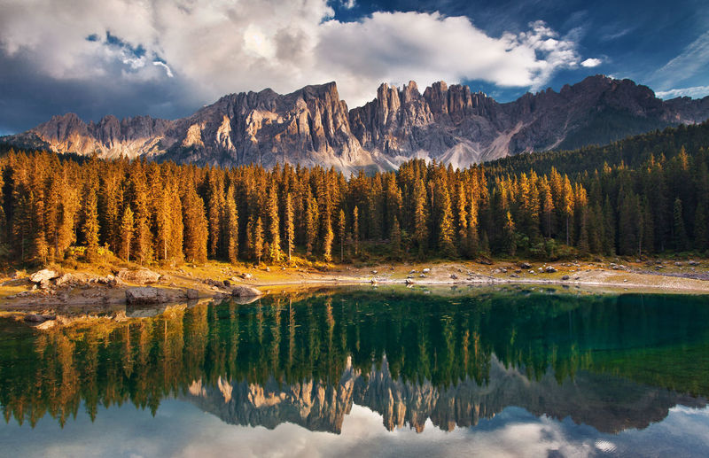 Dolomite Mountains, Italy. Carezza Lake. Alpine Alps Beautiful Beauty Carezza Clouds Dolomites Dolomites, Italy Europe Forest Italy Lake Landscape Mountain Mountain Range National Park Nature No People Outdoors Reflection Sunset Tourism Travel Travel Destinations