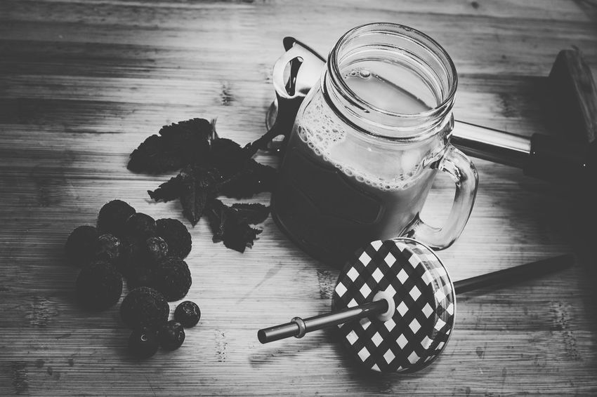 Still Life High Angle View Indoors  Drink Food And Drink Milkshake♥ Milkshake Time Milkshake Photography Bnw_collection Monochrome