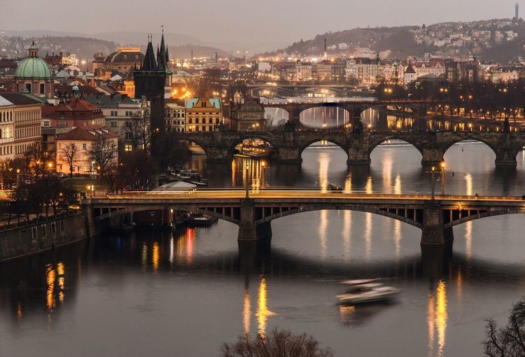 High angle view of charles bridge at dusk