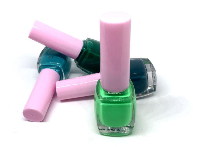 Beauty Product Cosmetics Fingernail Green Color Muti Colored Nail Polish Paint Studio Shot Thailnd White Background