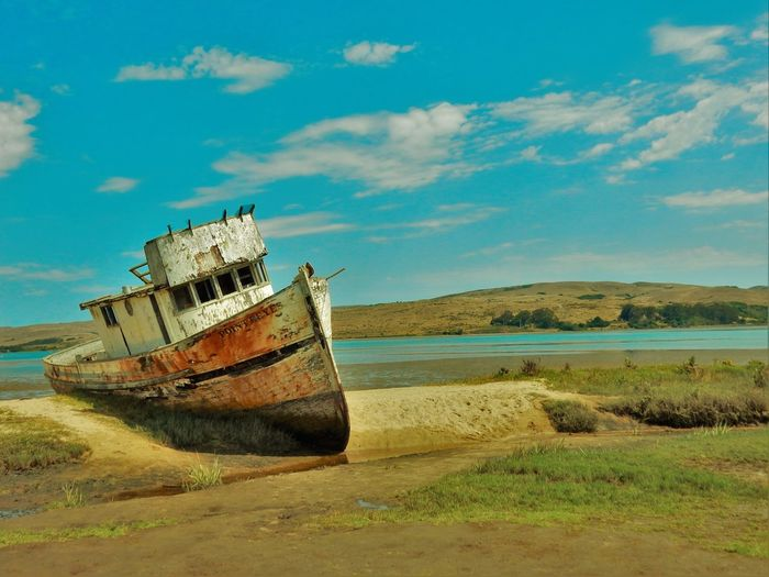 Beauty In Nature Blue Boat Cloud - Sky Eye4photography  EyeEm Best Shots EyeEm Gallery Grass Landscape Landscape_Collection Light And Shadow Nature Old Ship Popular Popular Photos Shipwreck Shipwreck Point Reyes Sky Taking Photos Travel Photography