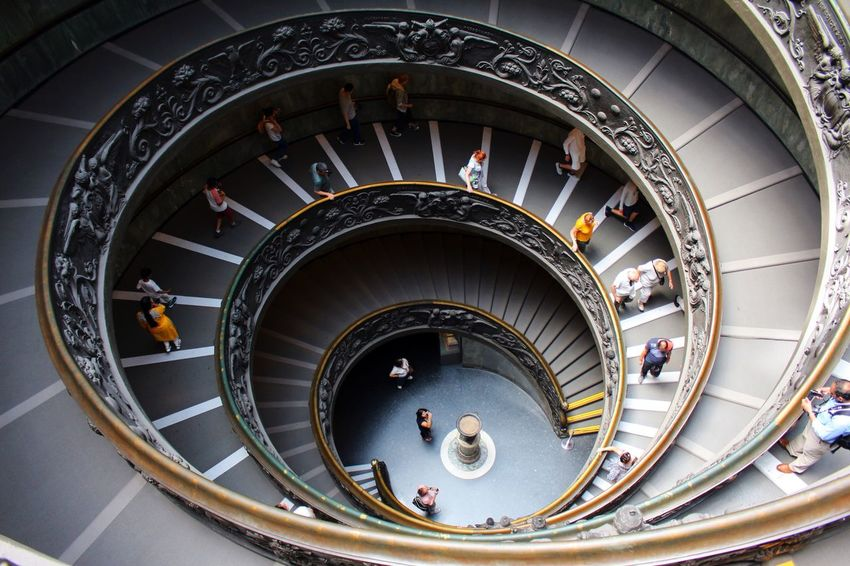 Vatican Museum Steps And Staircases Staircase Steps High Angle View Railing Spiral Architecture