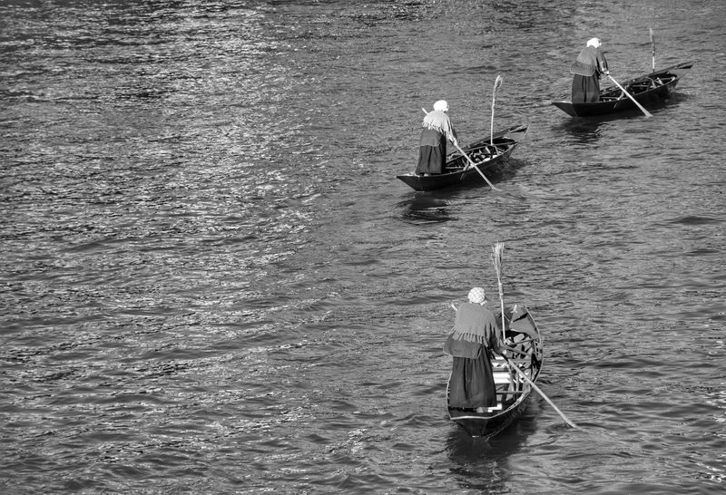 Nautical Vessel Transportation Water Mode Of Transport High Angle View Real People Day Men Outdoors Rowing Sailing Nature Adults Only Only Men Adult People Gondola - Traditional Boat Blackandwhite The Weekend On EyeEm