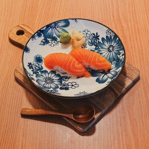 High angle view of fish in bowl on table