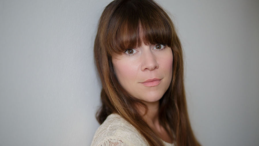 Adult Bangs Beautiful Woman Beautyful  Brown Hair Close-up Gray Background Headshot Indoors  Looking At Camera One Person One Woman Only People Portrait Pretty Serious White Background