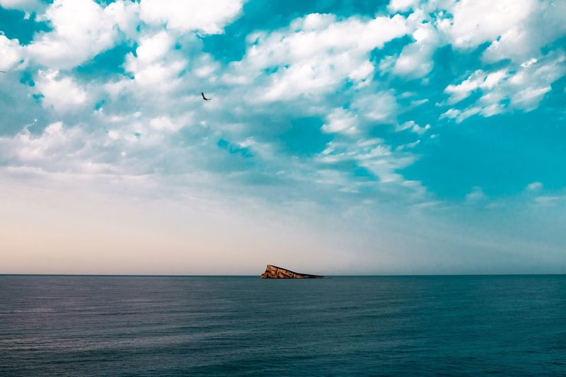 Sea Water Sky Horizon Over Water Scenics Beauty In Nature Nature Tranquility Cloud - Sky Tranquil Scene Waterfront Transportation Outdoors Mode Of Transport Nautical Vessel No People Day Flying Benidorm