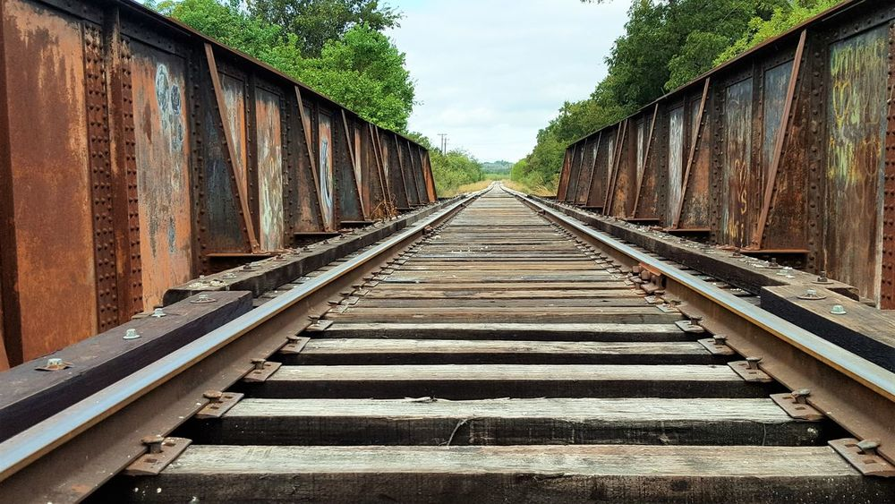 Bridge Built Structure Diminishing Perspective Graffiti History Narrow Railroad Bridge Railroad Track Straight The Way Forward Vanishing Point Vanishingpoint