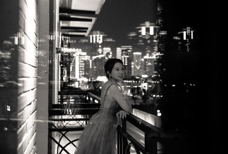 Monochrome Laughing Nightphotography Night Citylights Thebund Blackandwhite One Person Built Structure Night Building Exterior Architecture Lifestyles City