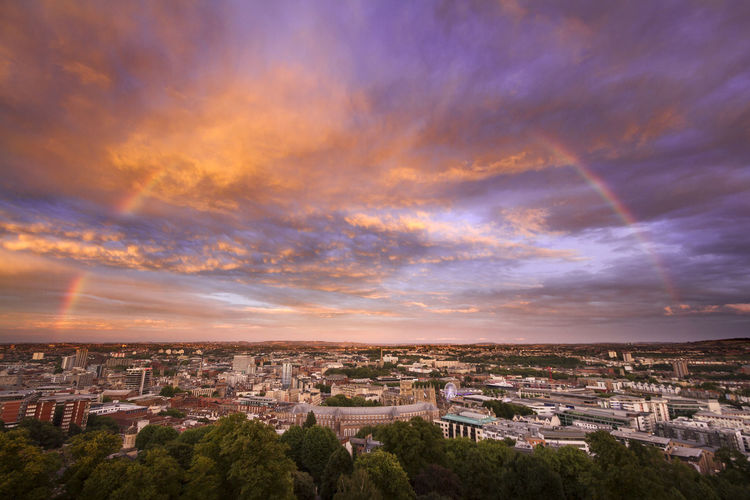 Rainbow arch in the evening, Bristol Architecture Building Exterior Built Structure Cloud - Sky Sky City Cityscape Residential District Building Nature Crowded Town High Angle View Sunset Aerial View Horizon Travel Destinations Outdoors TOWNSCAPE Bristol, England Bristol Rainbow