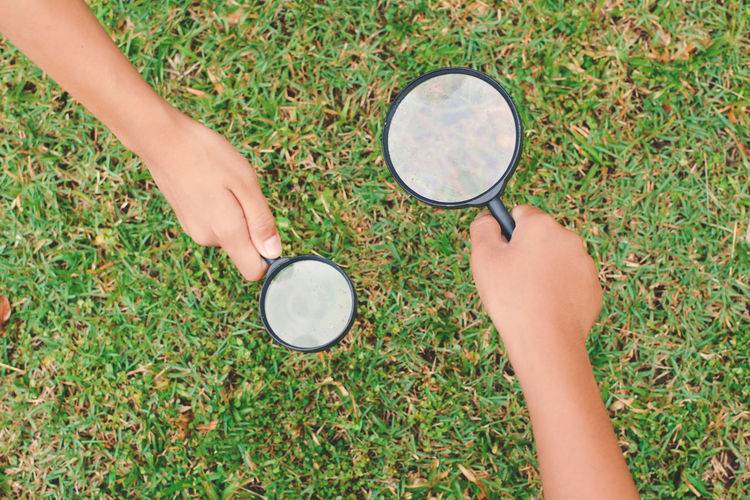 Day Grass Holding Human Hand Lifestyles Magnifying Glass