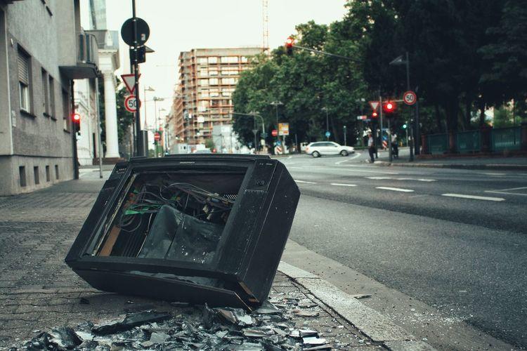 Broken City City Life City Street Pavement Road Shards Shattered Sidewalk Street Streetphotography Television Trash Tv Waste The Magic Mission Resist