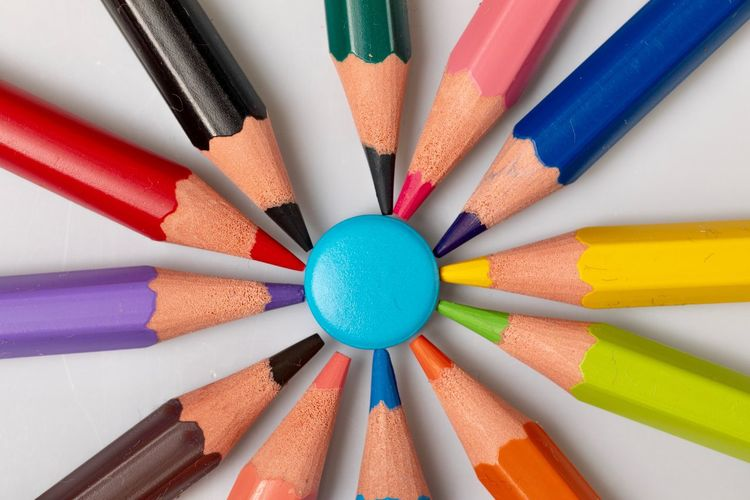 EyeEm Selects Multi Colored Pencil Variation Writing Instrument Art And Craft Choice Arrangement Close-up Creativity Colored Pencil Large Group Of Objects Table Geometric Shape Craft Circle Shape