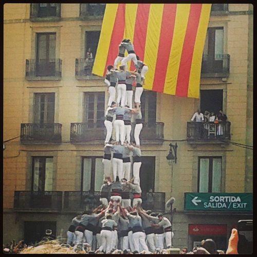 Castellers Barcelona Visca Catalunya Merce ciutatvella jaume1 human castle ajuntament