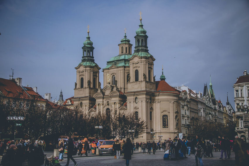 City Prague Quality Time Architecture Building Exterior Built Structure Day Large Group Of People Men Outdoors People people and places Place Of Worship Popular Real People Religion Sky Spirituality Travel Travel Destinations Vintage