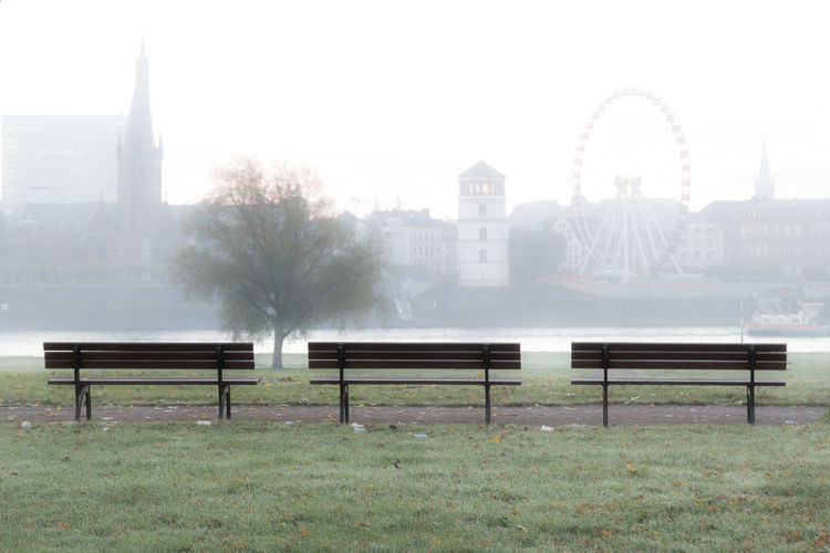Düsseldorf, Germany Bench Nebel Rhein Rheinufer Rheinwiesen Rhine Bänke City Day Fog Foggy No People Outdoors Seat