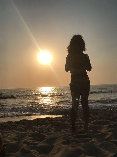Sky Sea Sunset Land Sunlight Beach Standing