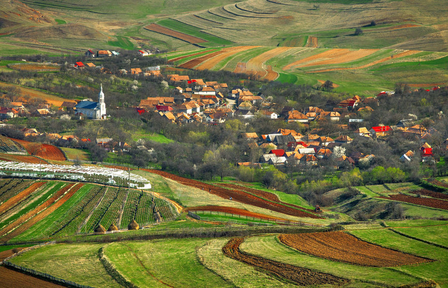Landscapes from Transylvania, Romania. Church Green Nature Aerial View Agriculture Cereal Plant Countryside Farm Field Grass Growth High Angle View Landscape Outdoors Plowed Field Rural Scene Spring Tranquility View From Above Village